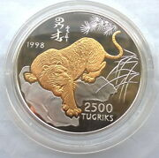 Mongolia 1998 Year Of Tiger 2500 Tugrik 5oz Silver Coin,proof,with Box Coa