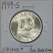1949-s 50c Franklin Half Dollar In Choice Uncirculated+ Condition Fbl 01396