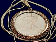 1995 Us .999 Silver Eagle Dollar Bezel Pendant And 24 Italy Sterling Snake Chain