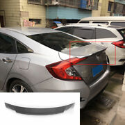 For 2016-2020 Honda Civic Abs Silver Exterior Rear Boot Spoiler Duck Wing Flap