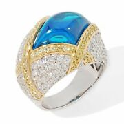 Hsn Victoria Wieck 2.39ct Absolute Blue Cabochon Sterling Dome Cocktail Ring 9