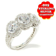 Hsn Jean Dousset 4.18 Ct Oval Cut Three Stone Anniversary Band Ring Size 8