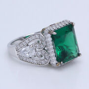 Hsn Jean Dousset Absolute Sterling Silver Emerald Radiant Cut Pave And Pear Ring 8