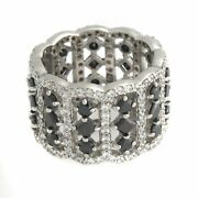 Hsn Jean Dousset Absolute Sterling Silver Black And White Eternity Ring Sz 6 348