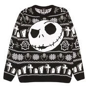 Mens The Nightmare Before Christmas Knitted Jumper Jack Face Official Disney
