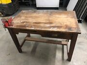 Oak Work Bench With Vise