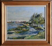 Harald Vike 1906-87 Original Oil Painting Afternoon Stroll Along Sandgate Qld