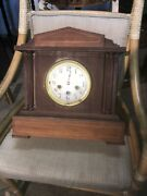 Neoclassic Form Inlaid Mantle Clock West Germany