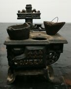 Vintage Queen Cast Iron Dollhouse Stove/ Oven W/pots - Solid And Heavy