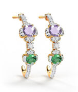 Christmas 1.35ct Natural Round Diamond Emerald And Sapphire 14k Gold Earring