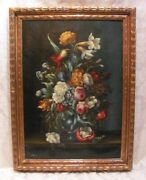 Continental Oil On Canvas Still Life 19th Century Signed