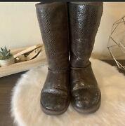 Ugg Carmela Brown Snakeskin Embossed Tall Shearling Boots Size 7 Uggs