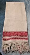 Antique Turkey Red And Ivory Show Towel Florals Leafy Garlands Hand Tied Fringe