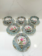 Set Of 6 Royal Sealy China Made In Japan Cups And Saucers Lusterware Moss Rose