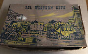 Vintage 1950's Rel Western Play Set - Plastic Cowboys, Horses And Wagons