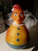 Vintage Rolly Polly Clown Squeeze Squeeker Rubber Top Rare Hard Bottom W Germany