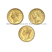 Lot Of 3 Italy Gold 20 Lire Umberto I Pre-1933 Uncirculated Italian Coins Unc