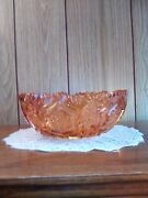 Vintage Abp Or Eapg Peachy Pink Carnival Glass Serving Bowl Kitchenware...