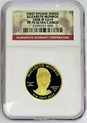 2008 W Gold 10 Elizabeth Monroe 7800 Minted Spouse 1/2 Oz Coin Ngc Proof 70 Uc
