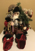 Giant Seated Jester Santa Claus Mantle Shelf Sitter 18 Tall Sitting Old World