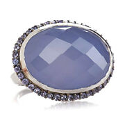 Hsn Rarities Sterling Silver Blue Chalcedony And Tanzanite Ring Size 8 958