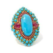 Hsn Rarities Turquoise, Ruby And White Zircon Vermeil Statement Ring Size-9