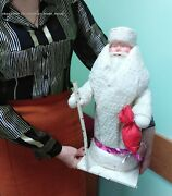 ✅🔥 Vintage Russian Ded Moroz Christmas Santa Claus Cotton Wool Doll 1960s 4