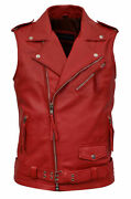 Brando Menand039s Red Biker Steam Punk Fitted Designer Style Napa Leather Waistcoat