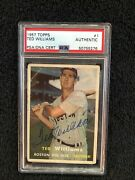 Signed Vintage 1957 Topps Hof Ted Williams 1 Boston Red Sox Psa  Hofcards64