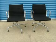 Herman Miller Aluminum Group Office Chairs 2 Black W/casters Knoll Ames