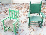 Antique Set Green Rocking Chairs Wooden And Wicker Child Rocker Outdoor Porch X 2