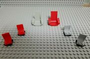 Lego 1 Red And 1 Old Light Gray Technic Seat 3x2 Base 2717 And 4 2x2 Seats W/ Swivel