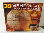 3d Spherical Jigsaw Puzzle Antique World Globe 530 Pcs 9.5 Diameter With Stand