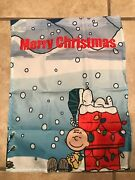 Peanuts Snoopy/charlie Brown 28x40 Blue House Flag Merry Christmas Double Sided