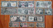 1863-1923 8 Horseblanket Large Size Us Notes Currency Lot 10 Gold 2 1 Silver+