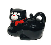 Vintage Black And White Cat With Red Bow Cookie Jar Hand Painted