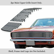 Fits 1967-1968 Chevy Camaro Rs Main Upper Stainless Chrome Billet Grille Insert