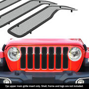Fits 2020-2021 Jeep Gladiator Main Upper Stainless Black Mesh Grille Insert
