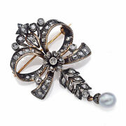 Antique 14k Gold And Sterling Silver Sea Pearl And 0.75 Tcw Rose Cut Diamond Brooch
