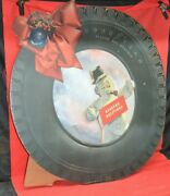 Vtg 1920s 36 Goodyear Deluxe All Weather Tire Sign Seasons Greeting Cardboard