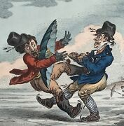 James Gillray Hand Colored Etching Elements Of Skating Consequence 1805