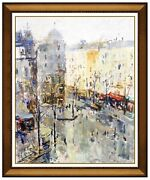 Mario Agostinelli Original Painting Oil On Board Signed Framed Cityscape Artwork