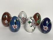 Vintage Chinese Cloisonne Enamel Eggs With Floral Motif. Collection Of 6 Eggs.