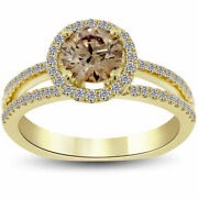 1.63 Carat Natural Fancy Champagne Brown Diamond Engagement Ring 14k Yellow Gold