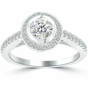 1.03 Ct. D-si2 Natural Round Diamond Engagement Ring 14k Pave Halo Vintage Style