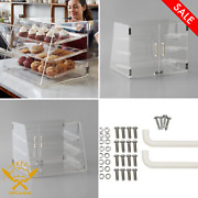3 Tray Bakery Counter Display Case Magnetic Rear Door Donut Pastry Cookie Store