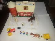 Vtg Fisher Price Little People 915 Barn Silo Farm Animals Fence Tractor Lot