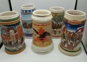 Lot Of 5 Budweiser Christmas Beer Steins / Mugs / Anheuser Bush / Clydesdales