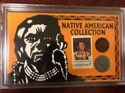 Native American Collection 1907 Indian Head Penny And 1935 Buffalo Nickeland 6¢stamp