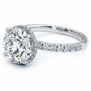 3.60ctw Round Brilliant The Sex And The City Under Halo Micropavandeacute Moissanite And ...